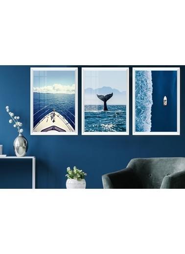 Çerçeve Home  Aquatic Life And Travel Beyaz Çerçeve Tablo Seti Beyaz